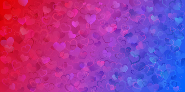 Background of translucent small hearts in  red and blue colors. Valentine's day illustration