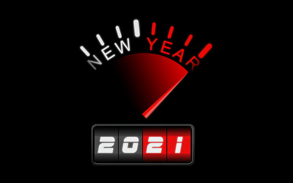New Year Speedometer 2021. Inscription with New Year. The concept indicates next year.