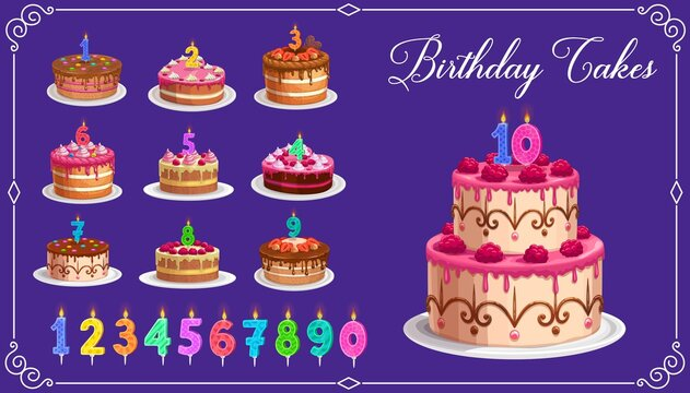 Candles on birthday cakes with age numbers from one to ten isolated vector icons. Happy birthday child party celebration. Cupcakes and colorful candle digits with fire light, anniversary candlelights