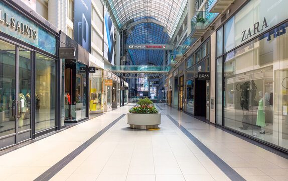 Toronto, Canada-20 March, 2020: Eaton Centre, businesses and retail shops are closed due to Covid-19 (coronavirus) pandemic, including major brand names such as Zara, Kate Spade, Victoria Secret, etc.