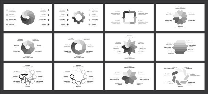 Editable circle infographic. Template for cycle diagram, graph, presentation and round chart. Business concept with 4, 6, 7 and 8 options, parts, steps or processes. Data visualization slide.