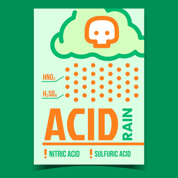 Acid Rain Problem Creative Promotion Banner Vector. Nitric And Sulfuric Acid Caused By Emissions Of Sulfur Dioxide And Nitrogen Oxide Advertising Poster. Concept Template Style Color Illustration
