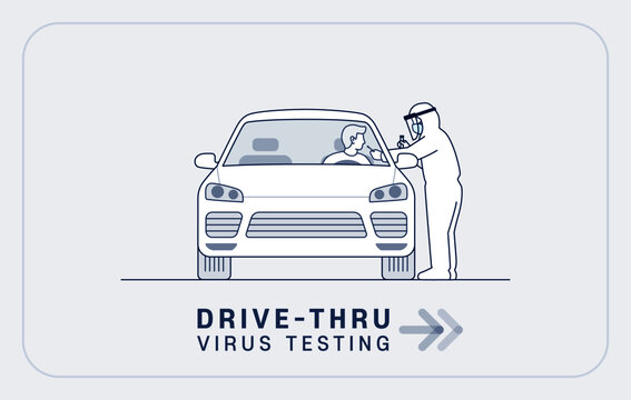 Drive-thru virus testing illustration: Medical worker in full protective suit takes sample from driver at coronavirus COVID-19 drive through screening station. editable stroke vector illustration