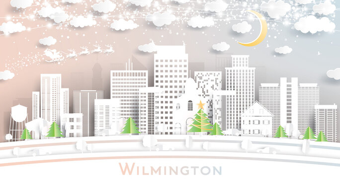 Wilmington Delaware USA City Skyline in Paper Cut Style with Snowflakes, Moon and Neon Garland.