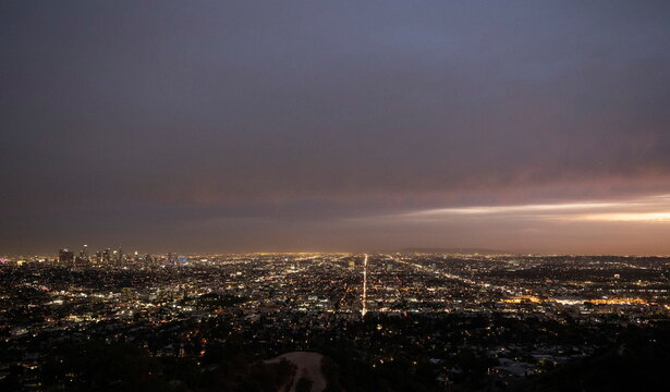 A general view of the downtown skyline from Griffith Observatory during a partial lockdown amid the outbreak of the coronavirus disease (COVID-19), in Los Angeles