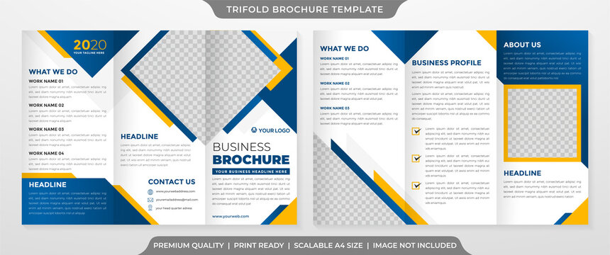 trifold brochure template with abstract background and minimalist concept use for business profile and proposal
