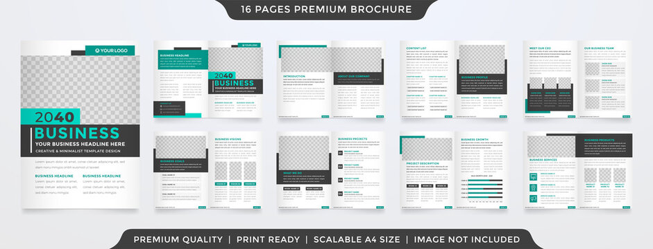 bifold brochure template with clean style and minimalist concept use for business profile and proposal
