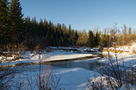 A Partially Frozen Creek at Whitemud