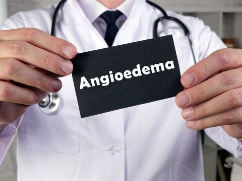 Medical concept meaning Angioedema with sign on the sheet.