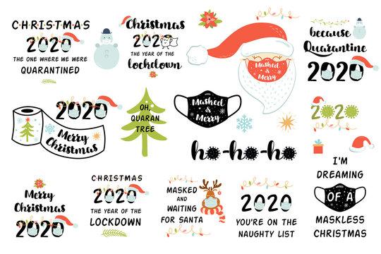 Quarantine Christmas 2020 set. Lockdown covid Christmas 2020 clipart New year quarantine party elements Coronavirus