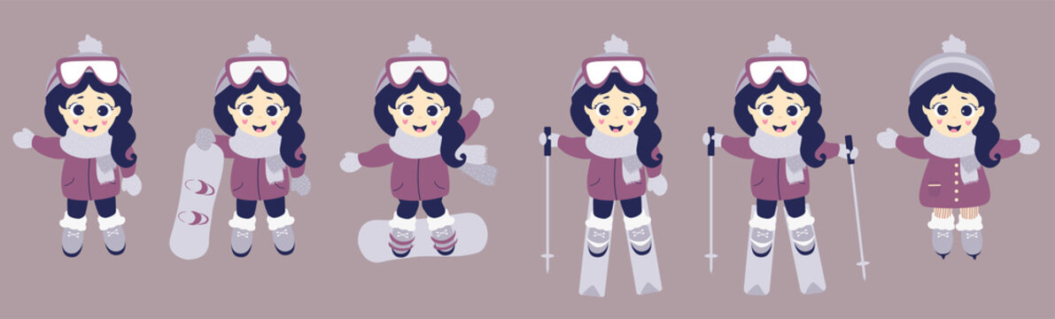 Kids winter. Girl athlete goes skiing, skating and snowboarding. A set of winter sports and a child in different poses. Vector illustration. Childrens collection for postcards, design and print