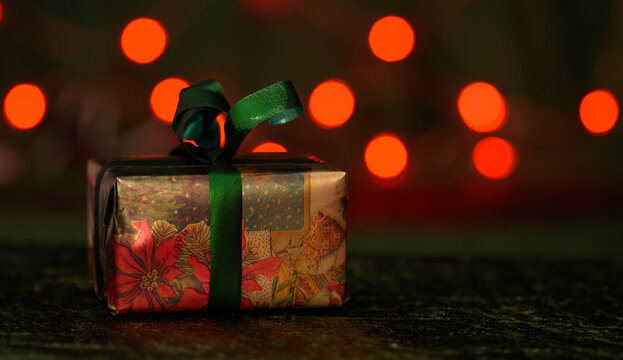Christmas gift with bokeh background.