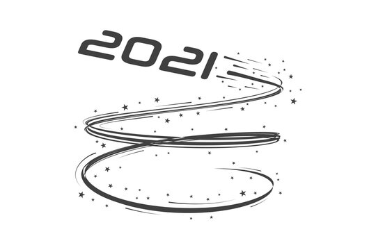 2021 new year. speed, takeoff, track. Festive monochrome, creative vector illustration.