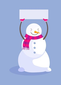 Snowman in scarf holding blank sign isolated on blue