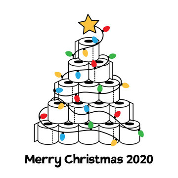 Merry Christmas 2020. Funny greeting card with toilet paper Christmas tree. Quarantine holidays, vector