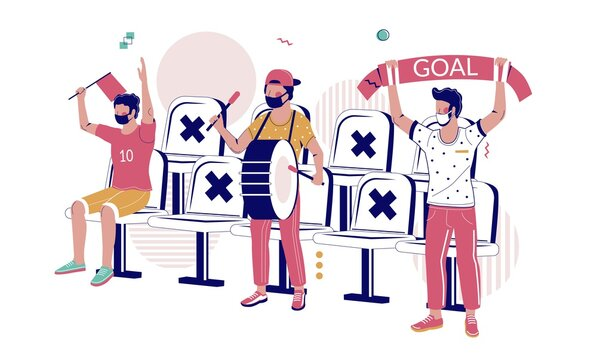 Football fans in face masks watching soccer game keeping social distancing from each other at the stadium, flat vector illustration. New normal after COVID-19 pandemic. Sport events, football match.