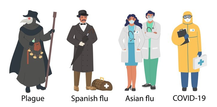 World pandemic doctor cartoon character set, flat vector illustration. Medieval plague, 1918 spanish influenza, 1957 asian flu, coronavirus Covid-19 pandemic. Healthcare professionals costume, uniform