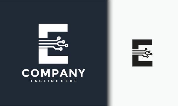 initial E logo technology