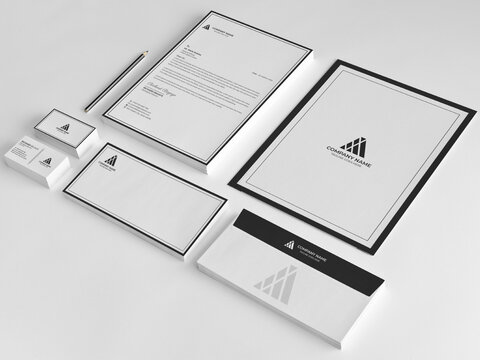 Minimal Branding Identity template. Business card, Letterhead, Invoice, Envelope, Business Folder in vector Illustration
