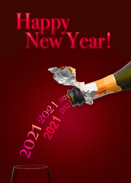 Bottle of Champagne wine pouring 2021 in a glass for new year two thousand twenty one