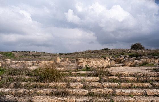 Ruins of Byzantine church. Khirbet Beit Lei or Beth Loya at Judean lowlands of Israel