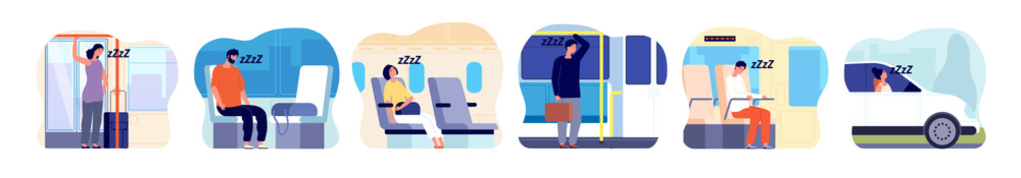 Tired people in transport. Morning woman, sad man in public bus, train. Person sleep on driving, sleepy adult work utter vector concept. Illustration people sitting fatigue and sleep in transport