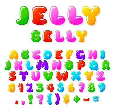 Jelly alphabet. Fruit candy font, typographics letters and numbers. Sweet bubble marmalade abc, kids gum recent vector text. Alphabet jelly and marmalade, font letter, abc typography illustration