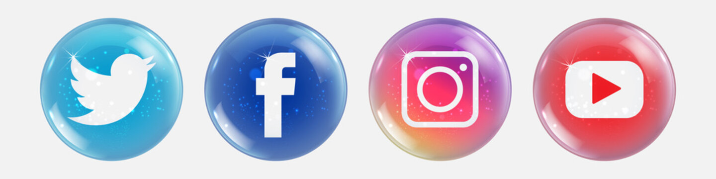 Winter social media icons in the form of a Christmas ball. Instagram, facebook, twitter, youtube logo vector.