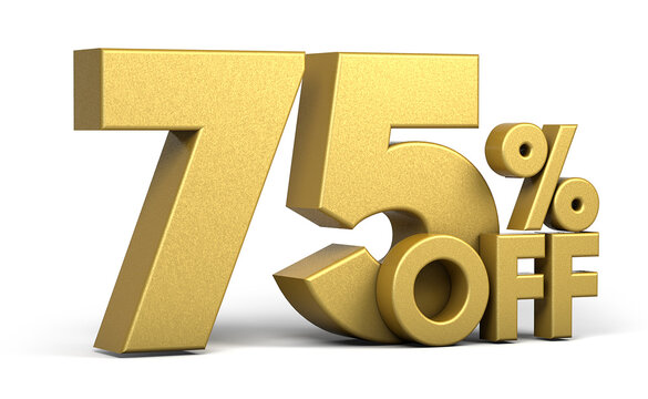 Golden text, 75% off isolated on white background. Off 75 percent. Sales concept. 3d illustration.