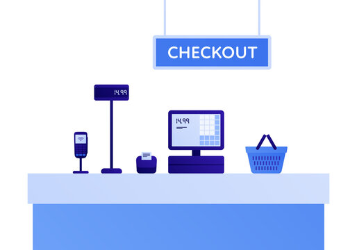 Self checkout grocery kiosk concept. Vector flat illustration. Set of digital device of cashier, electronic pos, scanner. Design element for supermarket ad, web banner.