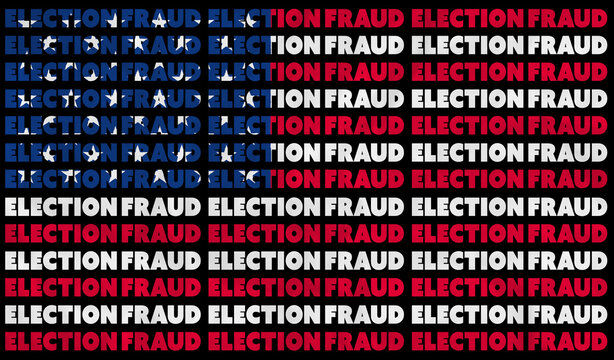 A USA ELECTION FRAUD text illustration about the alleged election controversy aligned with the red, white and blue stars and stripes of the American Flag