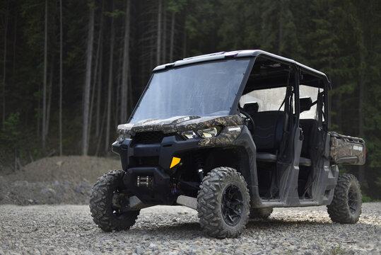Bukovel, Ivano-Frankivsk region, Ukraine - 06.02.18: ATV Can-Am Defender Max XT HD10 in forest