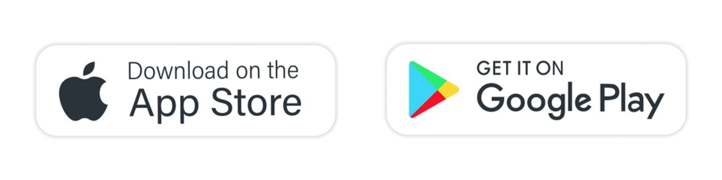 buttons google play apple store download application. isolated vector button for mobile phone ios, windows, microsoft, android app. editorial stock illustration  white background