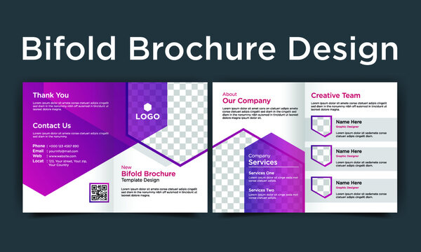 Corporate business bifold brochure template design