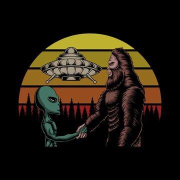 Bigfoot and alien conspiracy sunset retro vector illustration