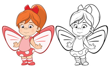 Vector Illustration of a Cute Cartoon Character Little Witch for you Design and Computer Game. Coloring Book Outline Set