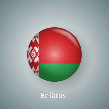 Belarus flag icon circle 3d gradient isolated