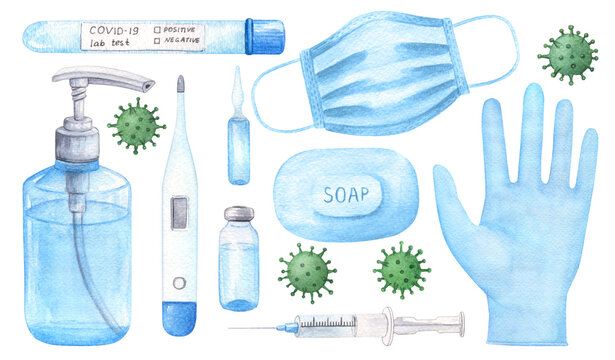 Hand drawn coronavirus protection watercolor set