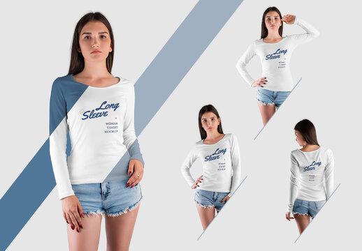 4 Long Sleeve T-Shirt Mockups