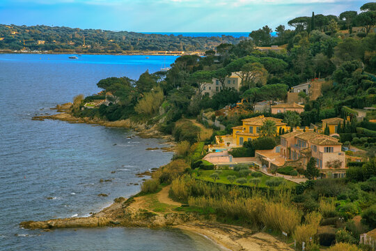 Beautiful view of Saint Tropez Bay in the south of France.