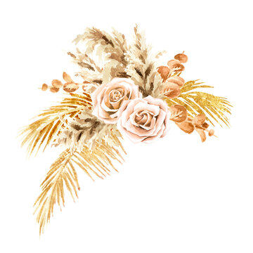 Boho composition of dried flowers and palm leaves. Hand drawn watercolor illustration isolated on white background