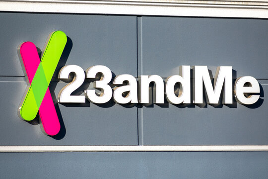 23andMe sign and logo at headquarters campus of a privately held personal genomics and biotechnology company in Silicon Valley. - Sunnyvale, California, USA - 2020