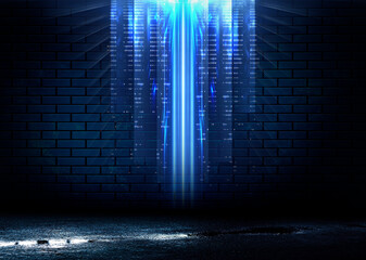 Fotomurales - Dark brick wall, blue neon light. Rays and glare of light in the dark. Night view of a dark street, abstract projection on an empty wall.