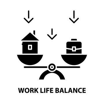 work life balance icon, black vector sign with editable strokes, concept illustration