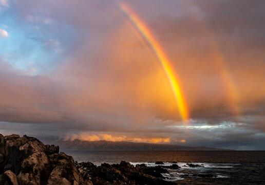 Rainbow over Oneloa Bay, Maui, Hawaii