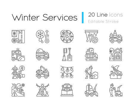 Snow removing services linear icons set. Clearing city after strong snowfall. Plow truck company. Customizable thin line contour symbols. Isolated vector outline illustrations. Editable stroke