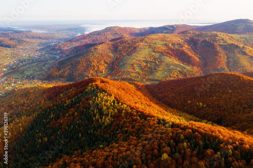 Wall mural Fantastic aerial photography of the autumn forest in the mountains.