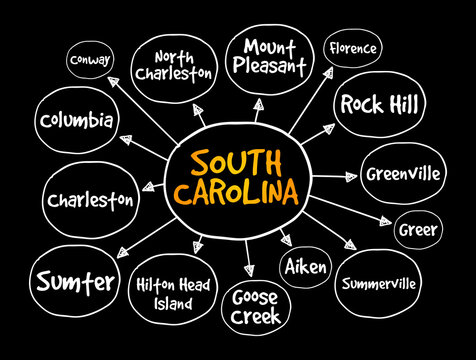 List of cities in South Carolina USA state mind map, concept for presentations and reports