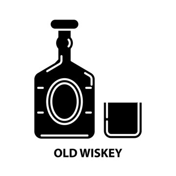 old wiskey icon, black vector sign with editable strokes, concept illustration