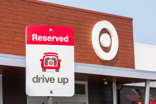 Drive Up sign informs Target supermarket online shoppers about reserved parking spot for online orders. pick up - San Jose, California, USA - 2020